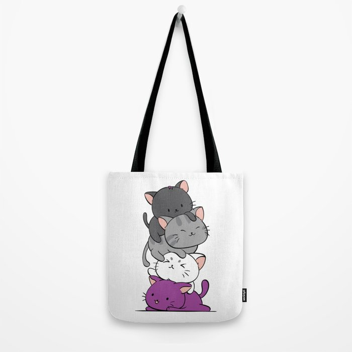 Asexual Pride Cats Anime - Ace Pride Cute Kitten Stack Tote Bag