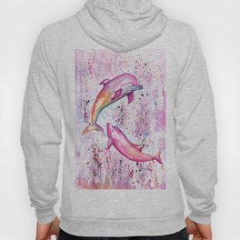 Dolphins Painting Illustration Hoody