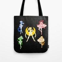 sailor moon Tote Bags featuring Sailor Scouts / Sailor Moon by Sara Eshak