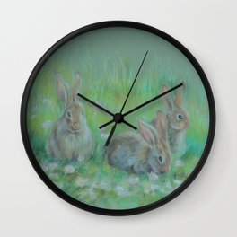 RABBITS IN A SPRING MEADOW Wildlife pastel drawing Wall Clock