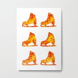 Watercolor Figure Skates (Orange-Yellow) Metal Print