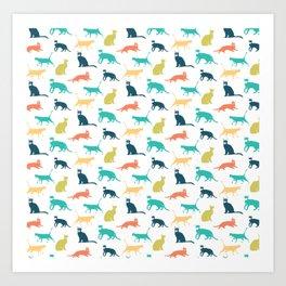 Colorful Cat Pattern Minimal Happy Bright Art Print