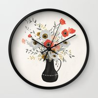 poppies Wall Clocks featuring Poppies by Kelli Murray