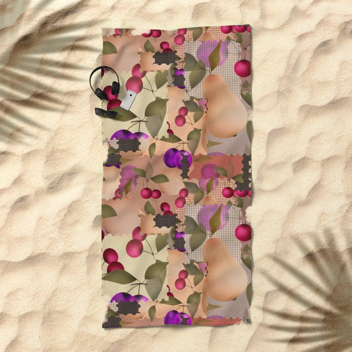 Old scraps of fabric with fruit . Beach Towel