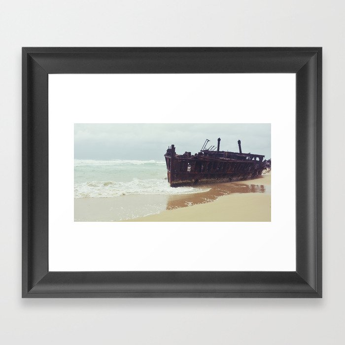 Fraser Island Shipwreck - SS Meheno Framed Art Print