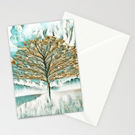Tree in Gold and Teal Stationery Cards