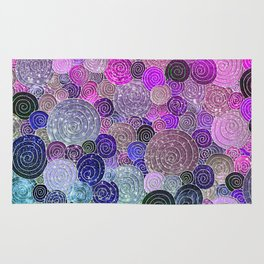 Abstract blue& purple glamour glitter circles and dots for Girls and ladies Rug