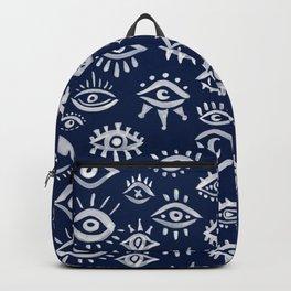 Mystic Eyes – White on Navy Backpack