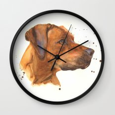 dog art, dogs, rhodesian ridgeback, dog painting, beautiful dog, dog lovers Wall Clock