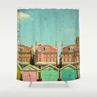 cassia beck Shower Curtains featuring Promenade by Cassia Beck