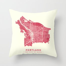 Portland City Map Throw Pillow