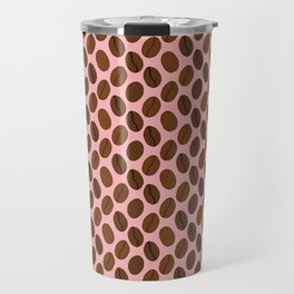 Doodle Coffee Bean Pattern on a Pink Background Travel Mug