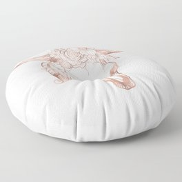 Rose Gold Bull Skull with Pink Feather Flowers Floor Pillow