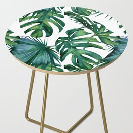 Classic Palm Leaves Tropical Jungle Green Side Table