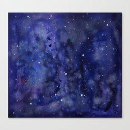 Night Sky Galaxy Nebula Stars Watercolor Space Texture Canvas Print