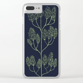 Leaf-like Sumac on Navy Clear iPhone Case