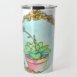 Watercolor succulent with scroll work Travel Mug