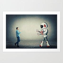 fight against robot Art Print