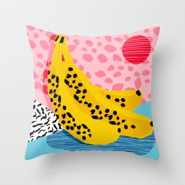 What It Is - memphis throwback banana fruit retro minimal pattern neon bright 1980s 80s style art Throw Pillow