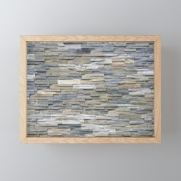 Gray Slate Stone Brick Texture Faux Wall Framed Mini Art Print