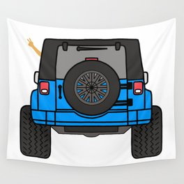 Jeep Wave Back View - Blue Jeep Wall Tapestry
