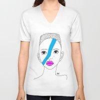 stripe V-neck T-shirts featuring Stripe by ARAJUA