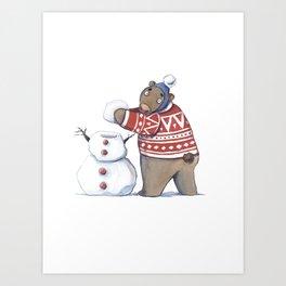 Bear with snowman Art Print