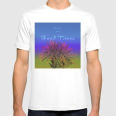 Good Times, Palm Trees, Blue, Graphic Design, Typography White MEDIUM Mens Fitted Tee