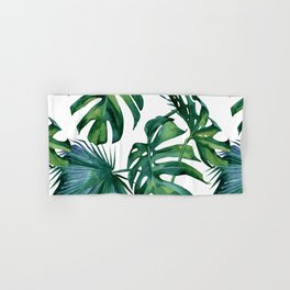 Classic Palm Leaves Tropical Jungle Green Hand & Bath Towel