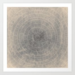 Geometric Art, cercles and lines with a gradient grunge background Art Print