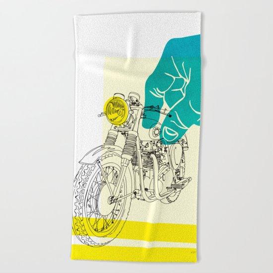 Vintage BSA Super Rocket Motorcycle Art Print Beach Towel