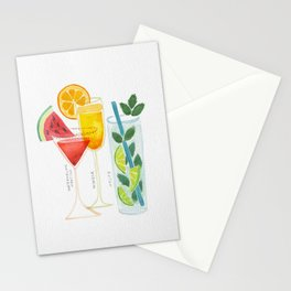 Summer Cocktail Trio Stationery Cards