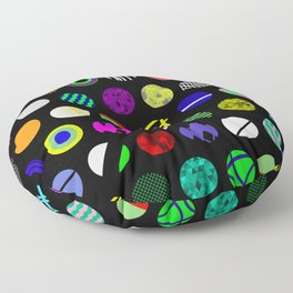 Eclectic Circles - Abstract collage of random, colourful, bold, eclectic circles Floor Pillow