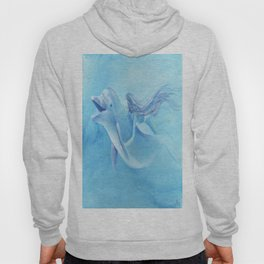 Blue Dolphin With Girl Transforming Into Mermaid Hoody