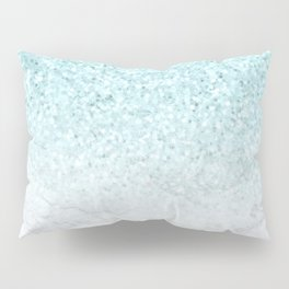 Turquoise Glitter and Marble Pillow Sham