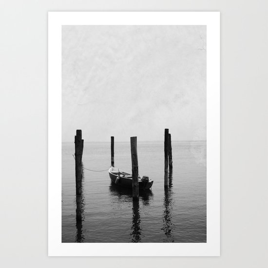 Boat on the lake Art Print