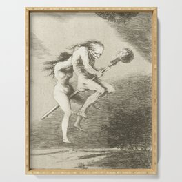 Witches on a Broomstick by Francisco Goya, 1797 Serving Tray