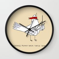 ninja turtle Wall Clocks featuring Teenage Mutant Ninja Turtle Dove by Dan Connolly