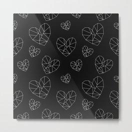 Geometric Hearts Metal Print