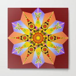 Purple and peach floral mandala Metal Print
