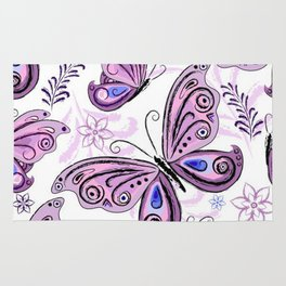 Colorful Butterflies and Flowers V12 Rug