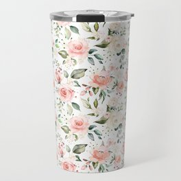 Sunny Floral Pastel Pink Watercolor Flower Pattern Travel Mug