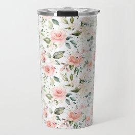 Sunny Floral Pastel Pink Watercolor Flower Pattern Travel Mug