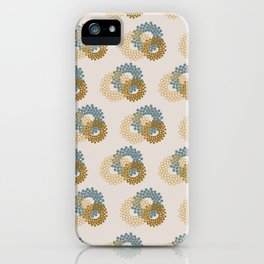 Flower Power surface pattern (blue-yellow) iPhone Case