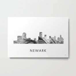 Newark, New Jersey Skyline WB BW Metal Print