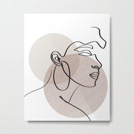 One line drawing - Woman  Metal Print