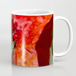 Little green insect while he's walking on a poppy Coffee Mug