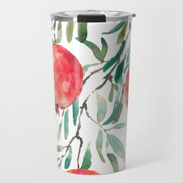 red pomegranate watercolor Travel Mug
