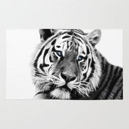 Black and white fractal tiger Rug