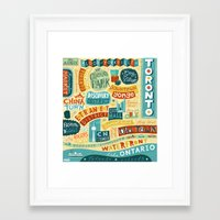 toronto Framed Art Prints featuring Toronto by Linzie Hunter